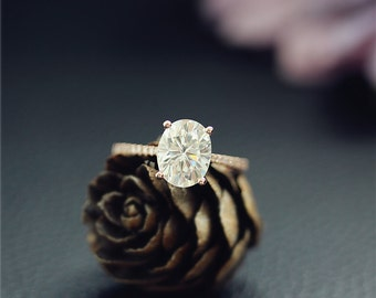 Forever One(Color G-H-I)Moissanite, 2.1ct, Charles & Colvard Oval Moissanite Engagement Ring, Solid 14K Rose Gold Ring, Wedding Ring,