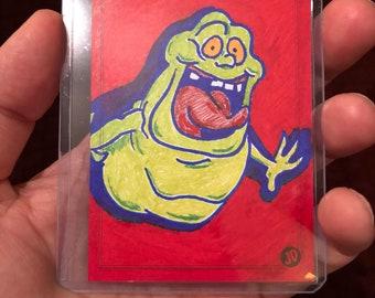 Original Ghostbusters Slimer Sketch Trading Card - JD Card No. 49
