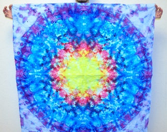 """Tie Dye Mandala Tapestry Bedroom decor Kaleidoscope Ice Dyed Psychedelic Tapestry / St. Patricks Day Gift for him 120x120 cm (47x47"""")"""