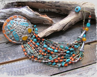 TIBETAN Pendant Necklace~Nepalese Coral & Turquoise Beaded Artisan Necklace~Women's Jewelry~Statement Pendant Necklace~Mdogstudios~