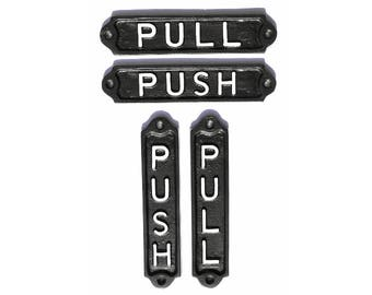 Antique Style Push/Pull Door Signs Cast Metal - Push and Pull Cast Iron Style Door Signs/ Plaques INFRA-30-bl