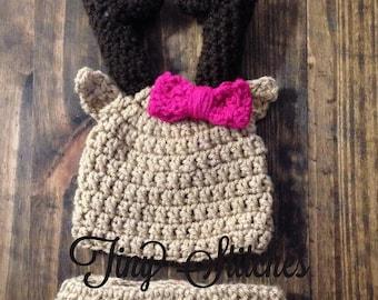 Deer hat and diaper cover set