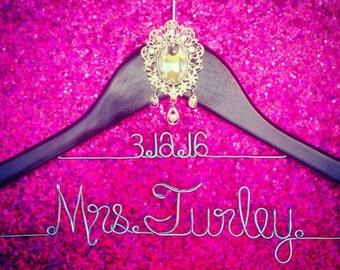 Wedding Hanger with Chandelier Jewel and date, Custom Bridal Hanger, Brides Hanger, Name Hanger, Personalized Bridal Gift