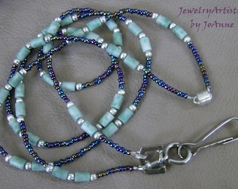 Jade Badge Lanyard/Eyeglass Chain with Iridescent Beads Handcrafted by JewelryArtistry - L97