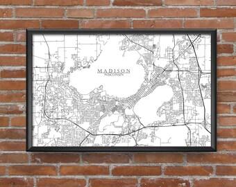 Madison, Wisconsin Map Art