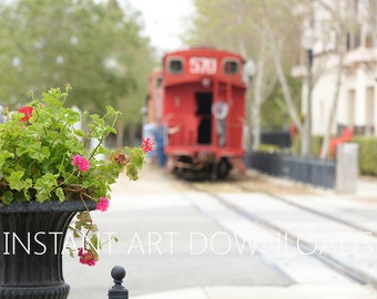 Digital Art, Instant Downloads, Red caboose, Railroad tracks, Train Photography, Digital Download, Cityscape art, Large Art Downloads, photo