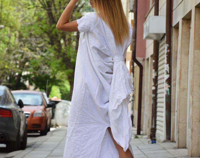Maxi Linen Dress, Extravagant Long Dress, Short Sleeves Dress, Party Dress, Plus Size Dress, Design Dress by SSDfashion