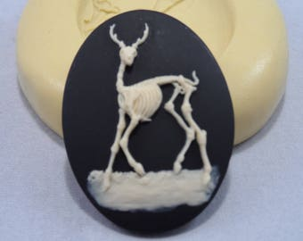 Cameo Cabochon Dead Deer Skeleton  Silicone push mold for resin, polymer clay, sugar craft- food safe, non toxic