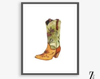 Watercolour Cowboy Boots Art Print Instant Download Western