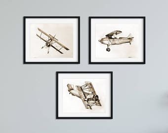 Airplane Wall Art - Vintage Airplane Wall Decor - Plane Wall Art - Aviation Decor - Airplane Artwork - Airplane Drawing -Bedroom Art -Office