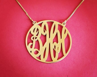 "14k Gold Monogram Necklace - Solid Gold 1.25"" Monogram Necklace Monogrammmed Necklace Monogrammed Gold Necklace 14k Monogram Necklace"