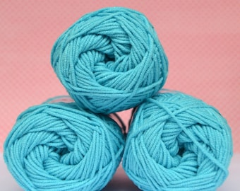 Kacenka - soft cotton/acrylic yarn for crochet and knitting, Blue turquoise color, No. 5744, 1 ball/50 g, Producer NCT