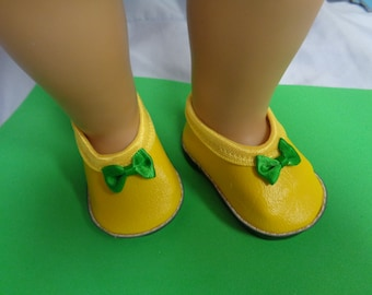 Yellow and Green -Mary Jane-- Doll Shoes-- for 18 inch dolls- fits american girl dolls