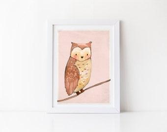 Forest Animal Print - owl print, girls room decor, girls room wall art, nursery room decor, art print, wall print