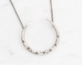 Upturned crescent necklace -  silver