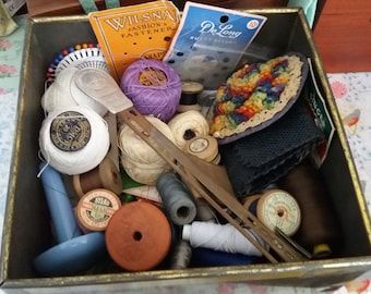 Vintage Large Biscuit Tin filled with Vintage Haberdashery