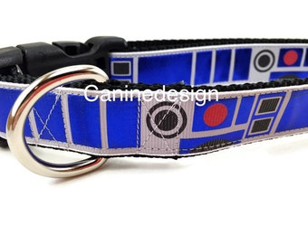 Dog Collar, R2D2, Star Wars, 1 inch wide, adjustable, quick release, metal buckle, chain, martingale, hybrid, nylon