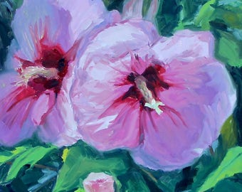 Morning Flowers 2- Original Oil Painting on 10x10 inch Ampersand Gessobord