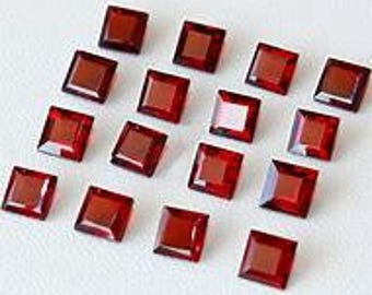 10 pieces  natural red garnet faceted square shape  gemstone