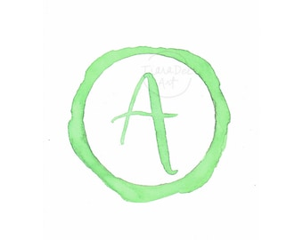 """Original Monogram """"A"""" - 5x7"""" Watercolor """"A"""" Painting - Letter Art - Family Initial - Monogram Hand Lettering - Letter Wall Decor"""
