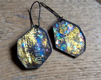 Recycled  tin earrings - Resin with glittery deposits