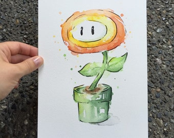 Mario Fireflower ORIGINAL Watercolor Painting, Mario Watercolor, Gaming Art, Mario Painting, Nintendo Geek Art, 7x10