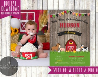 Farm Birthday Invitation, Barnyard Birthday Invite, Farm Animals Invitation, Old McDonald, Photo - Printable DIY