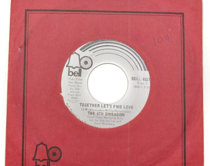 Vintage 70s The 5th Dimension Together Let's Find Love Soul 45 RPM Single Record Vinyl