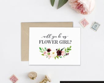 Flower Girl Card, Will you Be My Bridesmaid Gift Idea, Maid of Honor Card, Wedding Card, Bridal Party Gift, Bridesmaid Proposal Idea, BB1