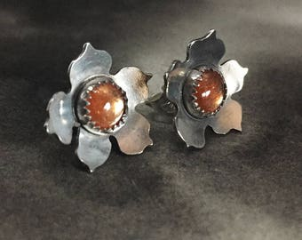 Sunstone blossom earrings, floral studs, dainty jewelry, flower shaped design, everyday earrings, gift for sister, handmade silver jewelry