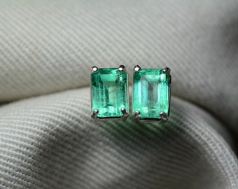 Emerald Earrings, Colombian Emerald Stud Earrings 1.72 Carats, Appraised at 1,550.00 Sterling Silver,Real Natural Green, May Birthstone, Cut