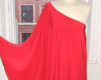 Baylis & Knight Red STUDIO 54 Batwing 70's Disco Glam One Shoulder Bat Wing Dress Elegant (Smock)
