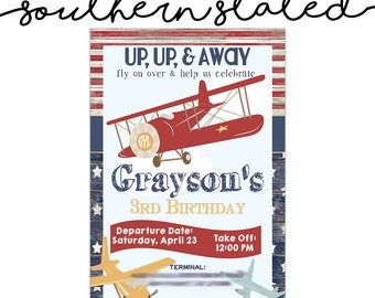 Vintage Airplane Party Invitation