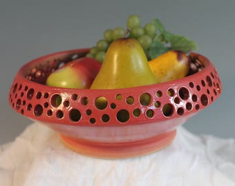 Decorative Bowl - red - Fruit Bowl - Stoneware bowl - North Carolina Pottery