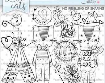 Cat Stamps, Digi Stamp, Digital Image, Cat Digistamp, COMMERCIAL USE, Coloring Page, Kitten Stamp, Party Stamp, Animal Stamps, Planner Stamp