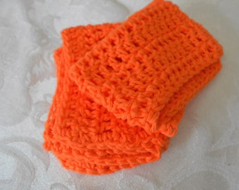 "Set of Two Hand Crochet Orange Washcloths, Dishcloths, and Facecloths 11 1/4"" by 7 1/2"" ( One Price Buys Two)"