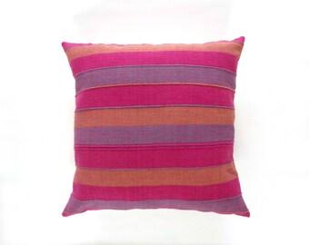 Pink Purple and Orange Indian Textile Pillow Cover / Ethnic Textile 100 Cotton Natural Fiber Fuchsia Violet Decorative Throw Cushion Frazada