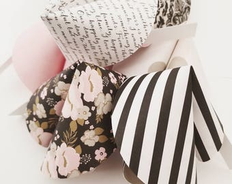 Paper Fortune Cookies Set of 24 Black and Pink Love Bridal Shower Favors Wedding Favors Paper Crafts Made To Order