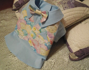 EASTER/HOLIDAY Dog Shirt with Vest and detachable bow tie...Order in Christmas Fabric.