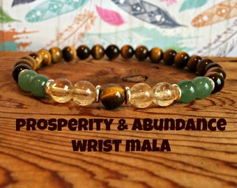 Abundance & Prosperity Bracelet, Citrine + Tiger Eye + Green Aventurine, Intention Wrist Mala Beads, Success + Wealth + Manifestation