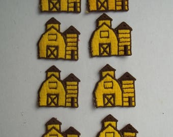 Vintage BARN SILO Applique Patch Yellow Brown Sew On NOS 1-3/8 x 1-3/8 Lot of 8