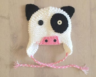 Cow 5/10 years hand knitted Hat