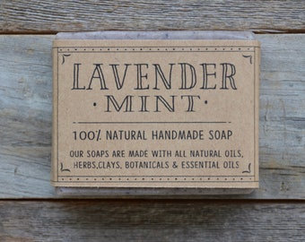 Lavender Mint Soap, Natural Soap, Handmade Soap, Small batch soap, Lavender Soap, Cold Process Soap, All natural soap