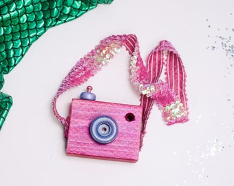 "The ""Hallee"" Cam - Mermaid Inspired - Custom Handmade Wooden Camera - Kids Wooden Toys - Handpainted - Push Button"