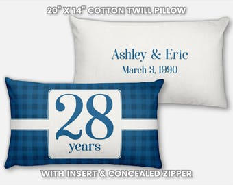 28th Anniversary Gift for Men 28 Year for Women Present Idea Him Her Gift Wife Husband Wedding Anniversary Gift Couple Pillow Personalized