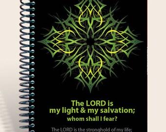 Personalized Gift /Prayer Journal  - Ornate Green - Psalm 27:1