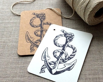 20 Anchor Gift tags, nautical gift tags, sailing gift tags, etsy shop supplies, nautical party supplies, anchor cards, boating gift tags