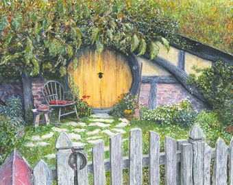 Hobbit hole, lord of the rings, the hobbit, lotr, wall art print, fantasy print, fine art prints, hobbiton, fantasy art, the shire, tolkien