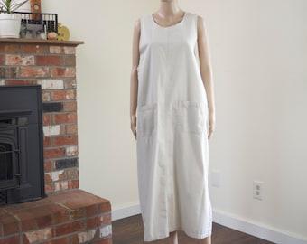 90s khaki overall dress ~ vintage beige cotton chore market maxi dress with pockets ~ size L