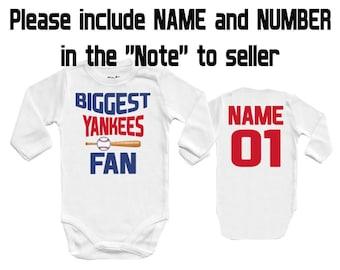 BIGGEST Yankees - New York, MLB NY Baby Vest Baby Bodysuit Funny Baby Child One Piece boy's girl's Clothing girl Kid's Shower Bodysuits Top